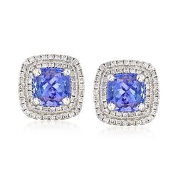 2.40 ct. t.w. Tanzanite and .40 ct. t.w. Diamond Stud Earrings in 14kt White Gold, , default