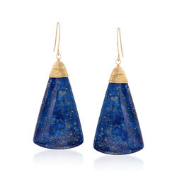 Blue Lapis Triangle Drop Earrings in 14kt Yellow Gold , , default