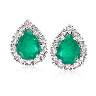 3.00 ct. t.w. Emerald and 1.00 ct. t.w. Diamond Earrings in 18kt White Gold, , default