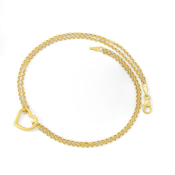"""14kt Yellow Gold Two-Strand Heart Center Anklet. 10"""", , default"""