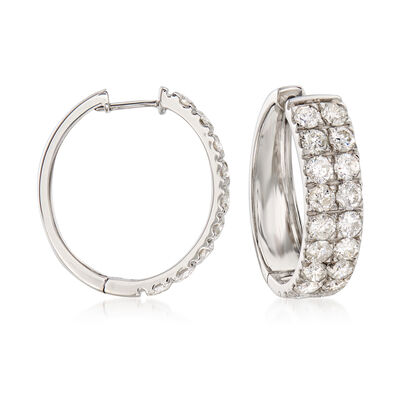 5.00 ct. t.w. Diamond Double-Row Hoop Earrings in 14kt White Gold, , default