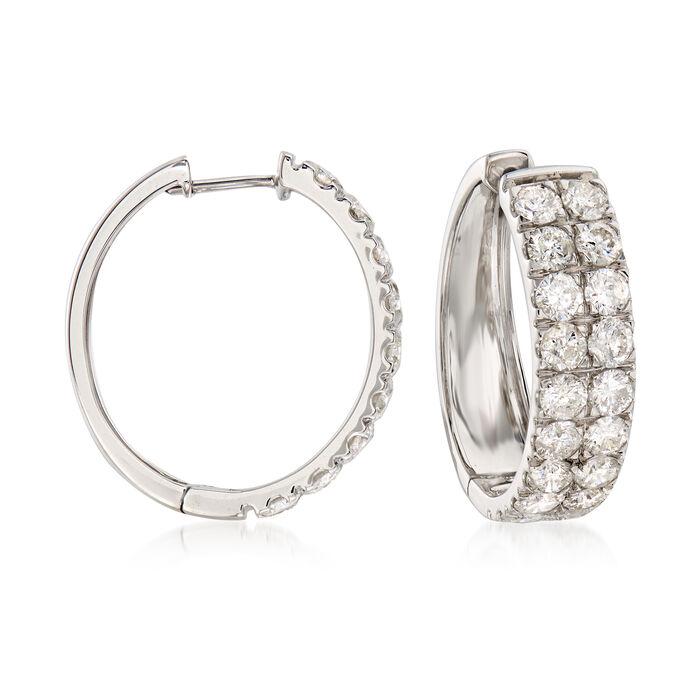 """5.00 ct. t.w. Diamond Double-Row Hoop Earrings in 14kt White Gold. 7/8"""", , default"""