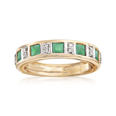 .90 ct. t.w. Emerald Ring with Diamond Accents in 14kt Yellow Gold, , default