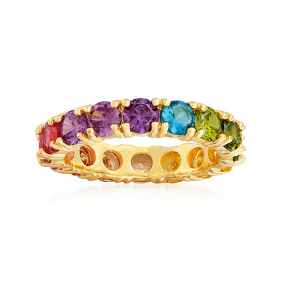 3.00 ct. t.w. Multicolored CZ Eternity Band in 18kt Gold Over Sterling, , default