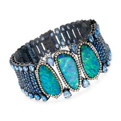 "Black Opal and 38.80 ct. t.w. Sapphire Bracelet With Brown Diamonds in 18kt White Gold. 7.25"", , default"