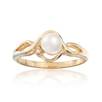 C. 1980 Vintage 6mm Cultured Pearl Ring With Diamond Accents in 14kt Yellow Gold. Size 9, , default