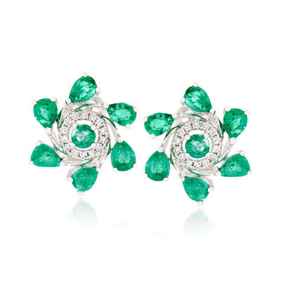 1.60 ct. t.w. Emerald and .10 ct. t.w. Diamond Floral Earrings in 18kt White Gold, , default