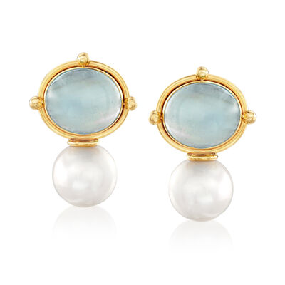 Mazza Cultured Pearl and 16.00 ct. t.w. Aquamarine Drop Earrings in 14kt Yellow Gold, , default