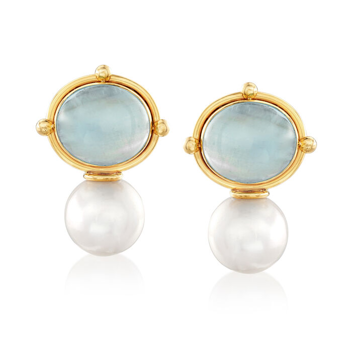 Mazza Cultured Pearl and 16.00 ct. t.w. Aquamarine Drop Earrings in 14kt Yellow Gold