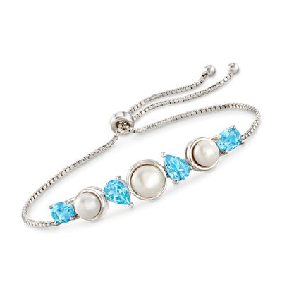 6-7.5mm Cultured Pearl and 3.60 ct. t.w. Blue Topaz Bolo Bracelet in Sterling Silver, , default
