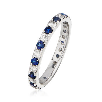 .50 ct. t.w. Sapphire and .50 ct. t.w. Diamond Eternity Ring in 14kt White Gold