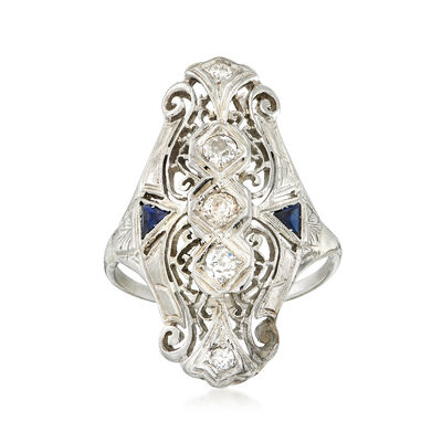 C. 1940 Vintage .47 ct. t.w. Diamond and .20 ct. t.w. Synthetic Sapphire Filigree Ring in 18kt White Gold