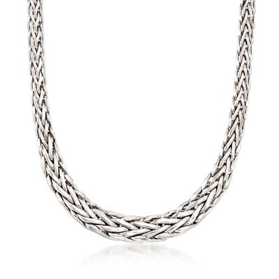 Sterling Silver Graduated Wheat Link Necklace, , default