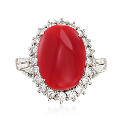 C. 1970 Vintage Red Coral and 1.40 ct. t.w. Diamond Ring in Platinum, , default