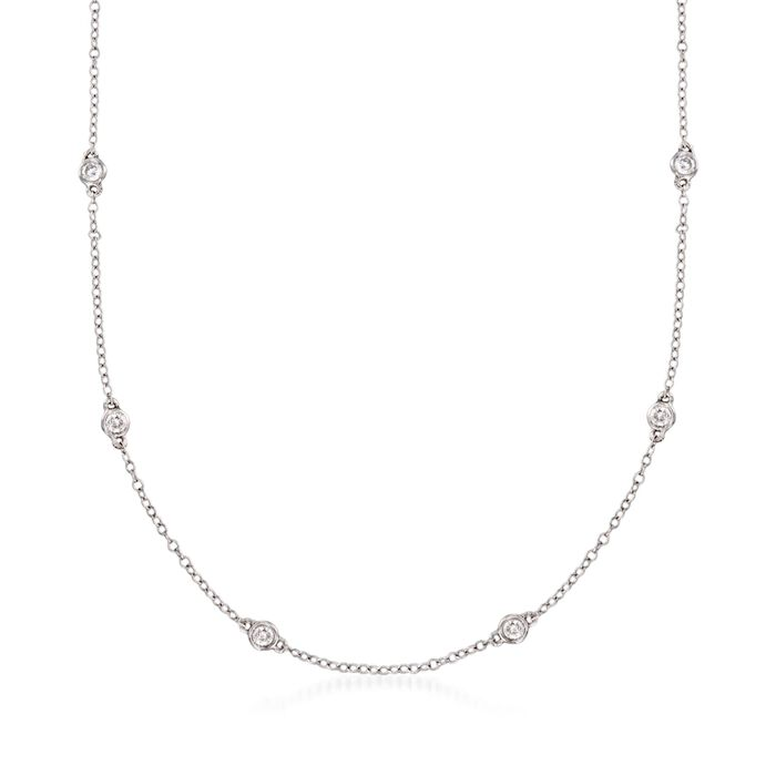 .75 ct. t.w. Diamond Station Necklace in 14kt White Gold, , default