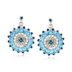 6.95 ct. t.w. Blue Topaz and .90 ct. t.w. Iolite Circle Drop Earrings With White Zircon in Sterling, , default
