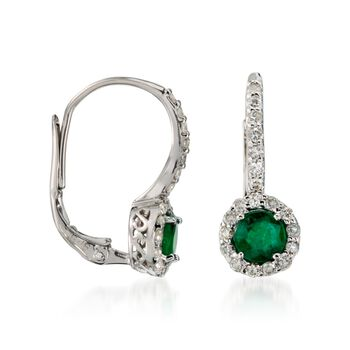 1.00 ct. t.w. Emerald and .60 ct. t.w. Diamond Earrings in 14kt White Gold