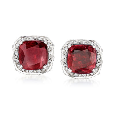7.95 ct. t.w. Ruby and .10 ct. t.w. White Topaz Stud Earrings in Sterling Silver