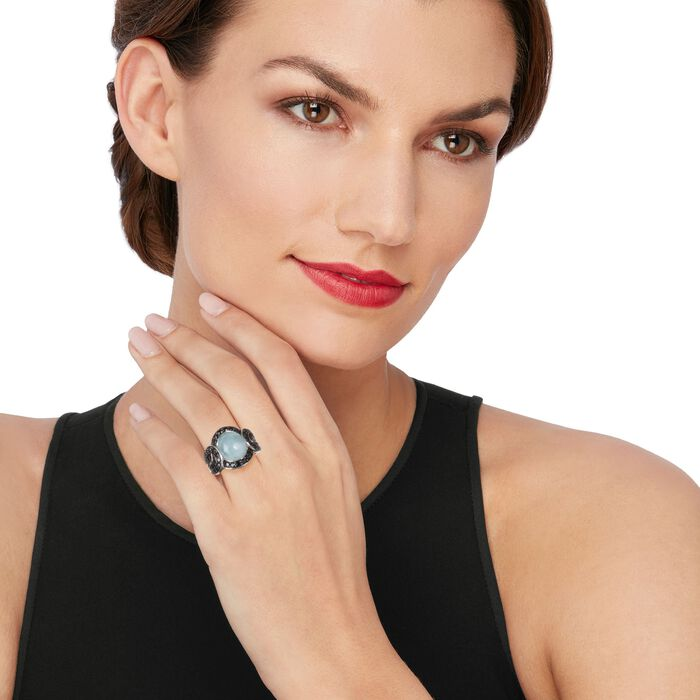 3.80 Carat Cabochon Aquamarine and Black Spinel Ring in Sterling Silver