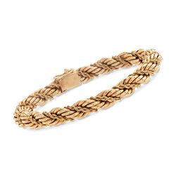 "C. 1990 Vintage Tiffany Jewelry 14kt Yellow Gold Rope Bracelet. 7.5"", , default"