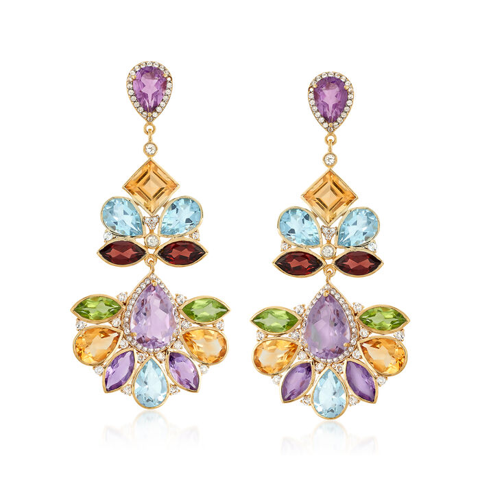 50.90 ct. t.w. Multi-Stone Drop Earrings in 18kt Yellow Gold Over Sterling Silver, , default
