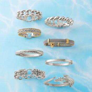 Italian Sterling Silver and 18kt Bonded Gold Woven Bracelet, , default