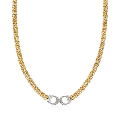 Italian .20 ct. t.w. CZ Horsebit Byzantine Necklace in 18kt Gold Over Sterling, , default