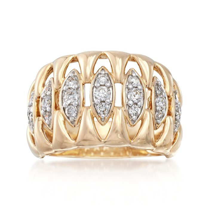 .60 ct. t.w. Diamond Marquise-Shaped Openspace Ring in 14kt Yellow Gold, , default