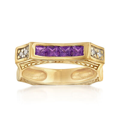 C. 1990 Vintage .50 ct. t.w. Amethyst Square Ring with Diamond Accents in 14kt Yellow Gold, , default