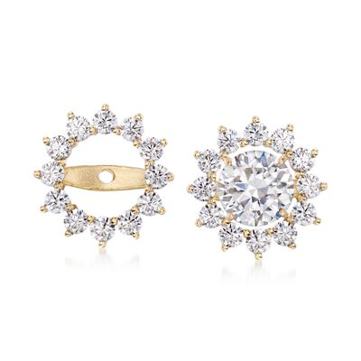 .75 ct. t.w. CZ Starburst Earring Jackets in 14kt Yellow Gold, , default