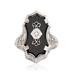 C. 1950 Vintage Black Onyx Engraved Ring With Diamond Accents in 14kt White Gold. Size 6.25, , default