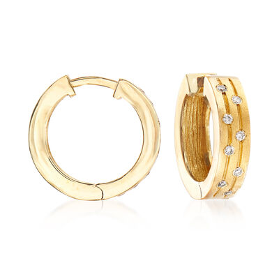 .10 ct. t.w. Diamond Hoop Earrings in 14kt Yellow Gold, , default