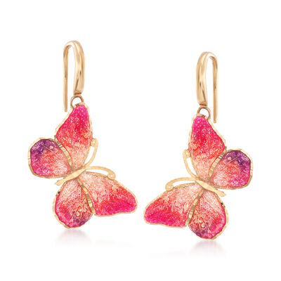 Italian Ceramic Pink and Orange Butterfly Drop Earrings in 14kt Yellow Gold, , default