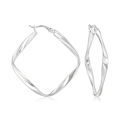 Sterling Silver Twisted Diamond-Shaped Hoop Earrings