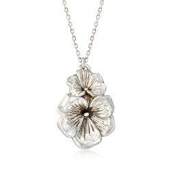 "Sterling Silver Flower Duo Drop Necklace. 18"", , default"