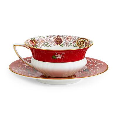 "Wedgwood ""Wonderlust"" Crimson Orient 2-pc. Teacup and Saucer Set, , default"
