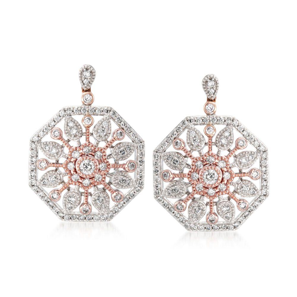 df97c8528 Simon G. .70 ct. t.w. Diamond Sunburst Earrings in 18kt Two-Tone ...