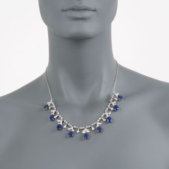 20.00 ct. t.w. Sapphire and .28 ct. t.w. Diamond Necklace in Sterling Silver. 18""