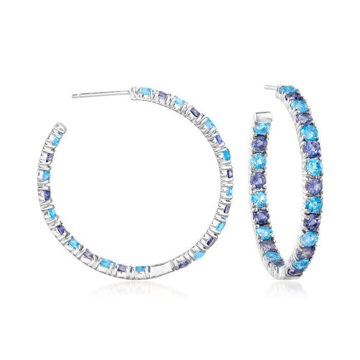 "C. 1980 Vintage 3.60 ct. t.w. Amethyst and 3.15 ct. t.w. Blue Topaz Hoop Earrings in 14kt White Gold. 1 3/8"", , default"