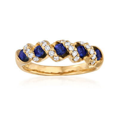 C. 1990 Vintage .80 ct. t.w. Sapphire and .22 ct. t.w. Diamond Ring in 18kt Yellow Gold