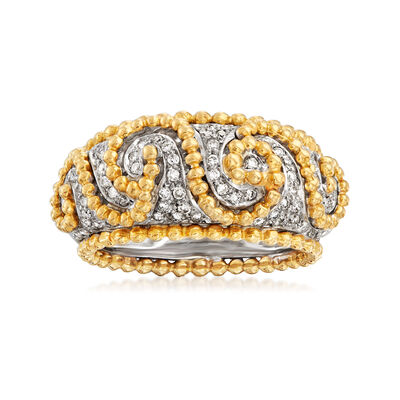 C. 1990 Vintage Rossetti .58 ct. t.w. Diamond Swirl Ring in 18kt Two-Tone Gold, , default
