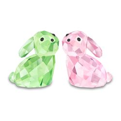 "Swarovski Crystal ""In Love -George & Georgina"" Green and Rose Crystal Figurine Set: Two Rabbits, , default"