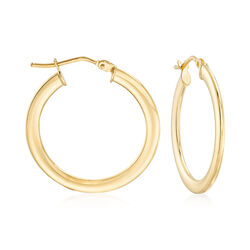 "Italian 14kt Yellow Gold Hoop Earrings. 1"", , default"