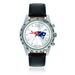 Men's 44mm NFL New England Patriots Stainless Steel Letterman Watch With Black Leather Strap, , default