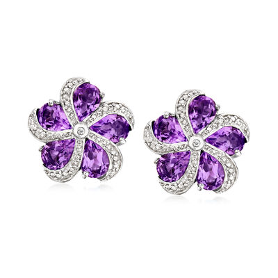 7.00 ct. t.w. Amethyst Flower Earrings in Sterling Silver