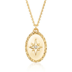 14kt Yellow Gold Star Oval Medallion Necklace With Diamond Accent, , default