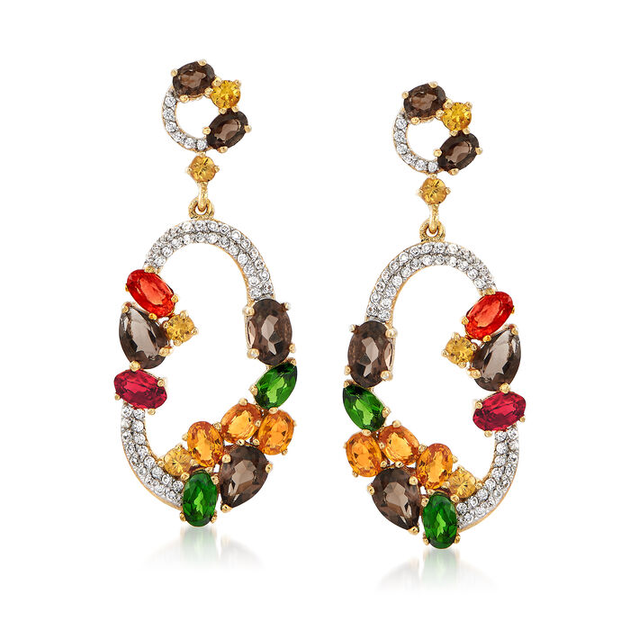 6.90 ct. t.w. Multi-Stone Drop Earrings in 18kt Yellow Gold Over Sterling Silver, , default