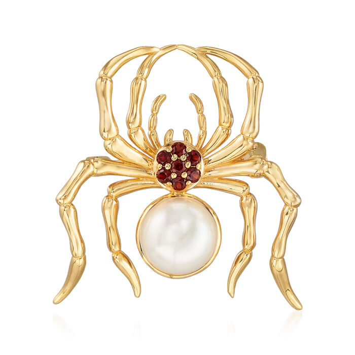 9.5-10mm Cultured Pearl and .20 ct. t.w. Garnet Spider Pin in 18kt Gold Over Sterling
