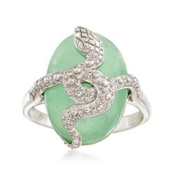 Green Jade Snake Ring in Sterling Silver, , default