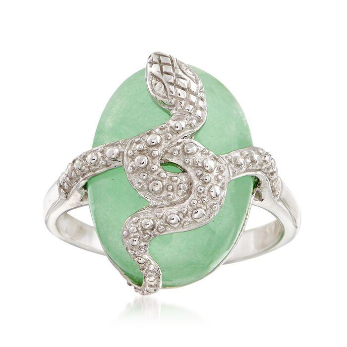 Green Jade Snake Ring in Sterling Silver, , default